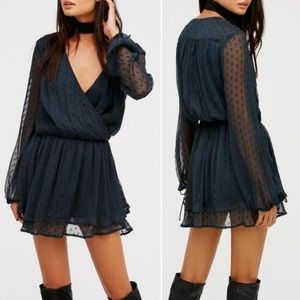 Free People DahliaSheer Dot Print Mini Dress